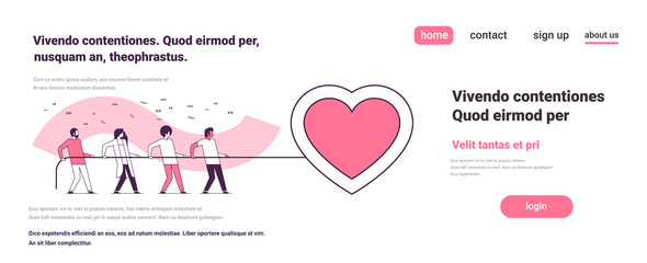 people group pulling rope big pink heart shape happy valentines day holiday concept men women team full length cartoon characters horizontal flat copy space vector illustration