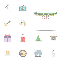 Christmas ribbons for  poster colored icon. Christmas holiday icons universal set for web and mobile