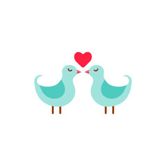 Vector Cute Couple Of Birds With Heart.