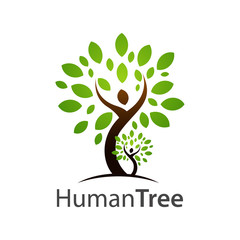 Human tree logo concept design. Symbol graphic template element