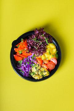 Hawaiian vegetarian poke bowl with tofu, pineapple and cole. Ready-to-eat