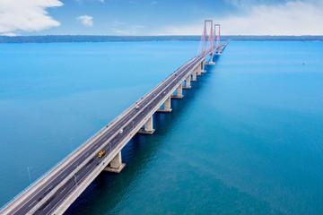 Beautiful blue sea with Suramadu bridge