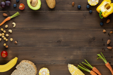 Antioxidant organic healthy food on  wood background