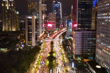 Night view of Sudirman road at rush hour