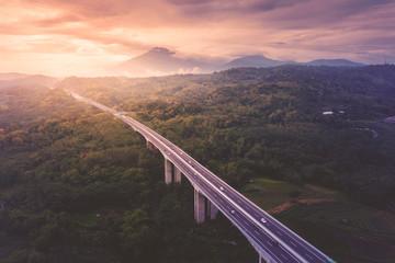 Salatiga tollway at sunset time