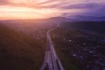 Ungaran toll road at sunrise time