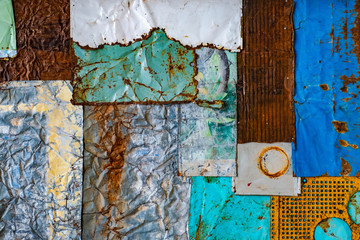 old rusty metal background texture. grunge texture of colorful old paint surface