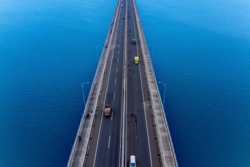 Vehicles crossing on Suramadu bridge