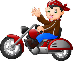 Cartoon boy funny riding a motorcycle