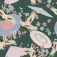 Japanese pattern. Seamless vector ornament with traditional motives. Japanese pattern with japanese umbrella, storks and sakura