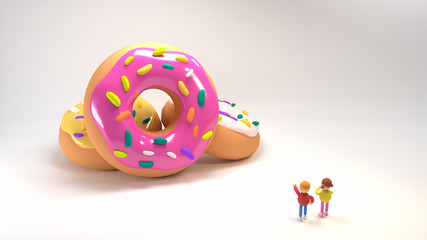 Children pointing at big donuts. 3d rendering picture.