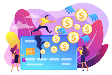 Businessman running on credit card and dollar coins with wings flying away. Overspending, financial stress cause, spend beyond the income concept. Bright vibrant violet vector isolated illustration
