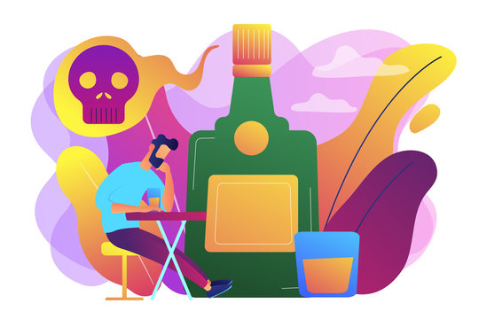 Depressed drunk man sitting and drinking alcohol at big bottle with skull. Drinking alcohol, alcohol addiction, alcoholism therapy concept. Bright vibrant violet vector isolated illustration