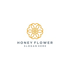 Unique logo design of honey flower vector template