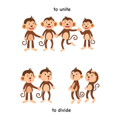 Opposite to unite and to divide vector illustration