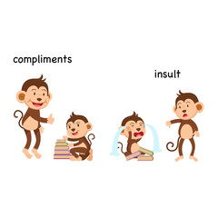 Opposite to compliments and to insult vector illustration
