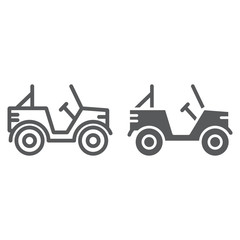 Military vehicle line and glyph icon, transport and army, car sign, vector graphics, a linear pattern on a white background.
