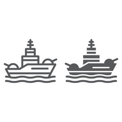 Battleship line and glyph icon, navy and army, warship sign, vector graphics, a linear pattern on a white background.