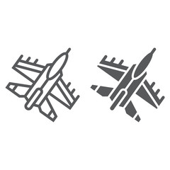 Jet fighter line and glyph icon, air and army, airplane sign, vector graphics, a linear pattern on a white background.