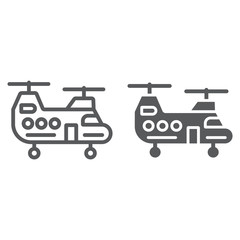 Military helicopter line and glyph icon, military and vehicle, chopper sign, vector graphics, a linear pattern on a white background.