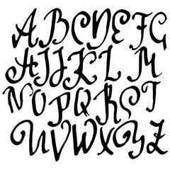 Grunge old pen gothic font. Blackletter script. Vector illustration.