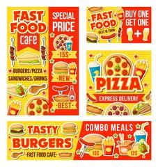 Fast food and drinks menu, vector