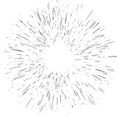 Radiating from the center burst light rays object element effect isolated. Abstract explosion or speed motion. EPS 10