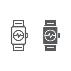 Smart watch line and glyph icon, clock and digital, gadget sign, vector graphics, a linear pattern on a white background.