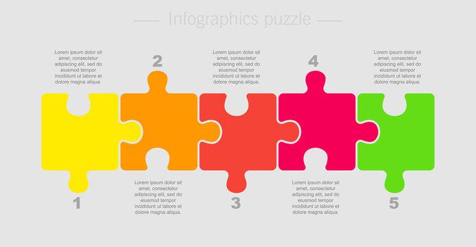 Puzzle Five Pieces Part for Business Presentation.