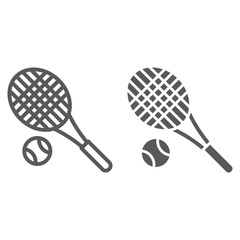 Tennis line and glyph icon, fitness and equipment, racket and ball sign, vector graphics, a linear pattern on a white background.