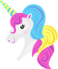 Cute fantasy cartoon unicorn with pink, yellow, blue mane. Isolated vector illustration.