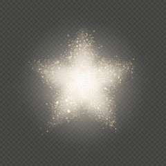 Gold star dust glitter explosion of confetti with blinking soft particles. EPS 10