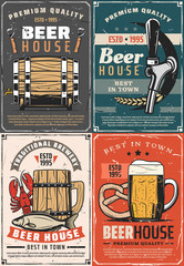 Brewery beer house retro posters mug and barrel