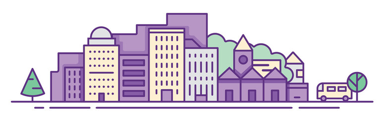 Modern vector illustration of urban landscape. Flat design city. Set of buildings. Creative background. Panorama 2