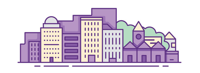 Modern vector illustration of urban landscape. Flat design city. Set of buildings. Creative background. Panorama