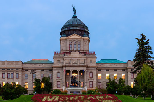 Montana State Capitol Building after sunset