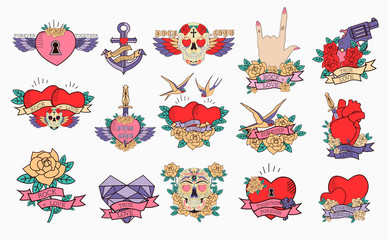 Set of romantic icons with old school tattoo style. Editable vector illustration