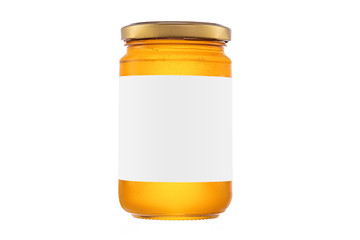 Honey jar isolated on white background with clipping path