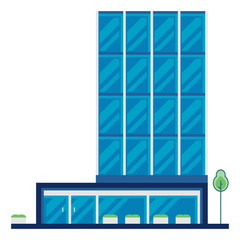 Modern Flat Commercial Office Building, Suitable for Diagrams, Info graphics, Illustration, And Other Graphic Related Assets - Vector