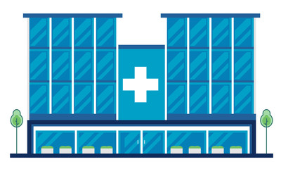 Modern Flat Hospital Building, Suitable for Diagrams, Info graphics, Illustration, Background, And Other Graphic Related Assets - Vector