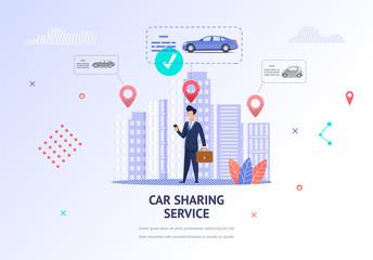 Illustration Businessman Choosing Car for Rental