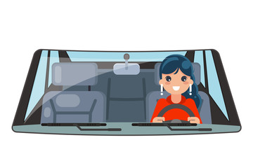 Female driver vehicle interior car wheel ride driving isolated flat design vector illustration