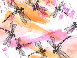 Watercolor illustration. Dragonfly flies against the sky, background. Abstract orange, pink, yellow paint splash.Stylish drawing. Dragonfly Graphic Realistic Line Ink Drawing. Hand-drawn illustration.