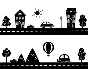 silhouettes of city streets and road