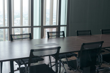 Table and chairs in office meeting room. empty conference room.