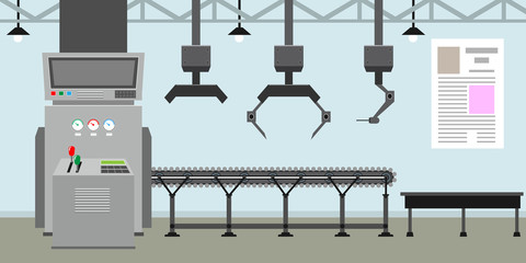 Empty Conveyor belt system with robot hands for mass production. Factory inside or interior with flat color style. Vector illustration.