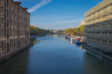 Paris, France - 10 14 2018: Canal Ourcq. View of the Bassin of The Villette from the bridge of Flanders at sunrise