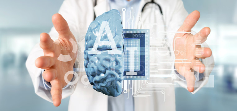 Doctor holding Artificial intelligence icon with half brain and half circuit 3d rendering