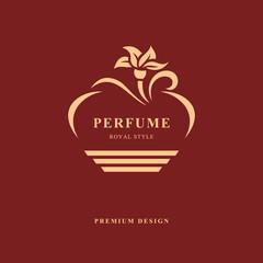 Design of Bottle perfume. Monogram flower elements, graceful template. Calligraphic elegant line art logo design. Emblem sign for Perfume packaging, aroma, Boutique, Jewelry. Vector illustration