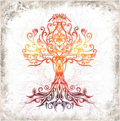 tree of life symbol on structured ornamental background, yggdrasil.